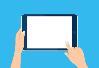 Tablet computer icon. Hand holding and toch device. Template horizontal blank white screen, mock up. Sign isolated on blue. Vector cartoon flat illustration for web site, app, UI
