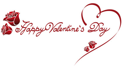 Happy Valentine's Day lettering fonts ornament with wonderful rose petals