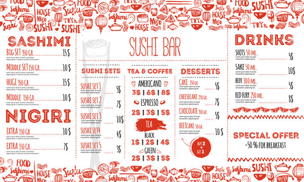 Sushi menu flyer layout template. Japanese food brochure with hand drawn doodle and lettering.