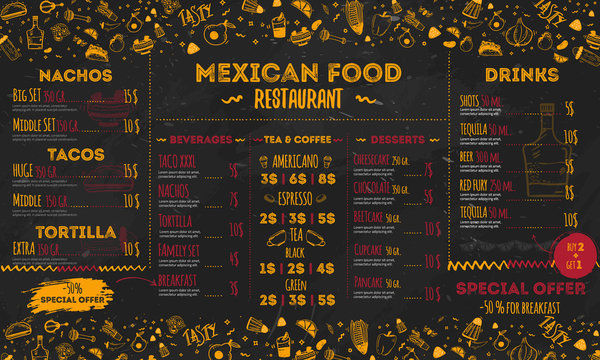Mexican Food Restaurant menu, template design. flyer for promotion, site banner