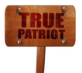 true patriot, 3D rendering, text on wooden sign