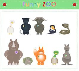 Animal Zoo, part four. Funny small plush animals. cartoon Vector