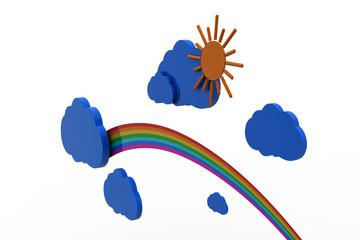 Cloud, sun and rainbow