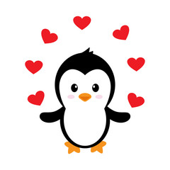cartoon cute penguin with hearts vector