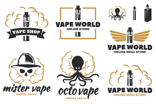 Vape, e-cigarette logo, emblems, and badges