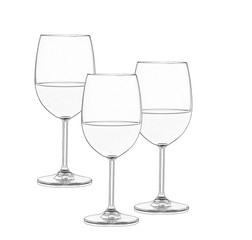 Three wine glasses in black and white