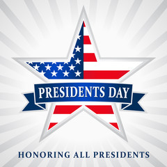 Presidents day USA star ribbon. Lettering Presidents Day and Honoring all presidents vector banner, USA flag on background in star