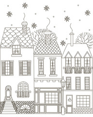 Winter town. Coloring Book.