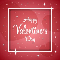 Vector illustration with Happy Valentines Day greeting card on heart background