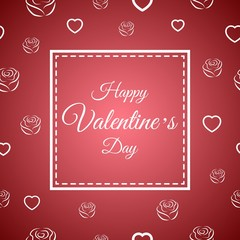 Vector illustration with Happy Valentines Day greeting card on rose and heart background