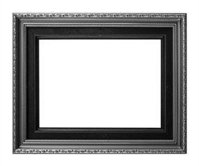 Old Antique frame Decorative Carved Wood Isolated On White Background