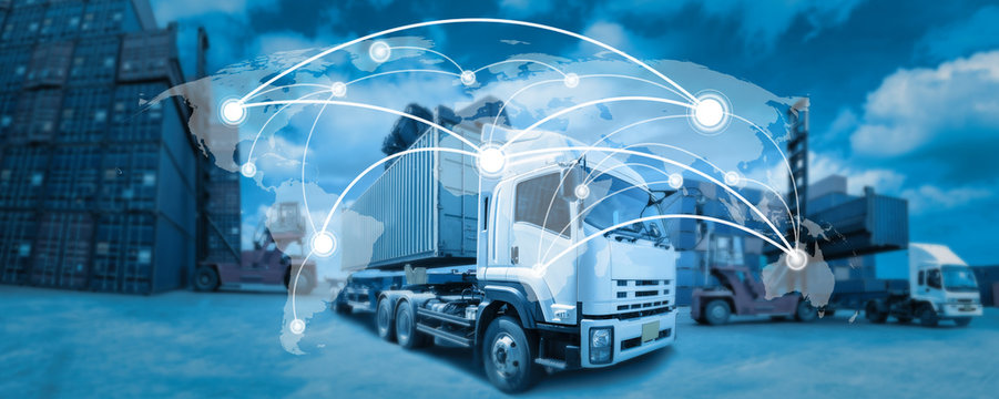 Global network coverage world map,Truck with Industrial Container Cargo for Logistic Import Export at yard (Elements of this image furnished by NASA)