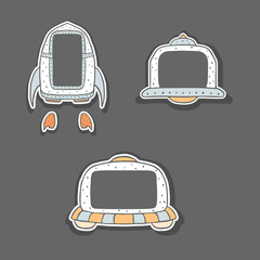 Hand drawn childish frames - spaceship and UFO. Cute sweet doodle style spacecrafts. Colorful sketchy illustration for kids