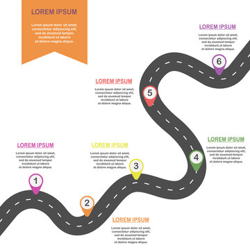 Curve asphalt road with colorful pin-pointers. Vector EPS 10.