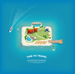 Top view of the island in the form of a suitcase. Time to travel and vacations poster. Holiday trip. Travel and tourism.