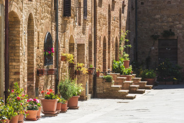 Beautiful colorful streets of the Tuscan town on a sunny day