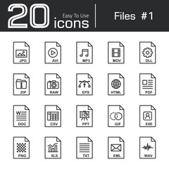 Files icon set 1 ( jpg , avi , mp3 , mov , dll , zip , raw , eps , html , pdf , doc , csv , ppt , gif , exe , png , xls , txt , eml , wav )