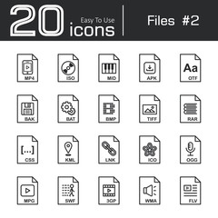 Files icon set 2 ( mp4 , iso , mid , apk , otf , bak , bat , bmp , tif , rar , css , kml , ink , ico , ogg , mpg , swf , 3gp , wma , flv )