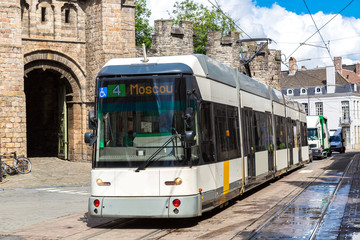 City tram in Gent in a beautiful summer day, Belgium