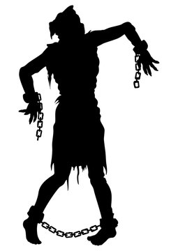 Inquisition executed zombie silhouette. Illustration zombie victim silhouette with a sack on his head, with chains on hands and feet. He was tortured and risen
