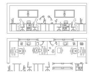 Architectural set of furniture. Design elements for floor plan, premises. Thin lines icons. Office technics, tables, equipment computer people flowers. Standard size. Vector isolated
