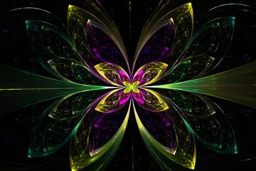Decorative fractal abstract  green flower on black background.3D render