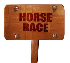 horse race sign, 3D rendering, text on wooden sign
