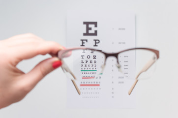 Eye exam. Clear vision through glasses.
