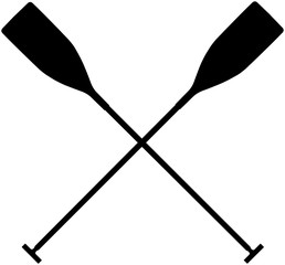 real sports paddles for canoeing. black silhouette criss cross