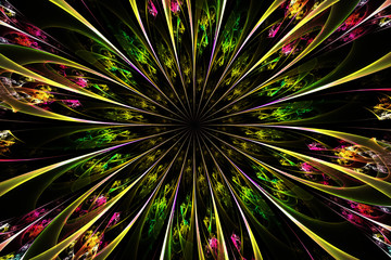 Decorative fractal abstract flower on black background