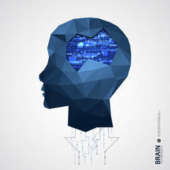 Creative brain background with triangular grid.