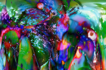 Chaotic shining iridescent dabs of paint.