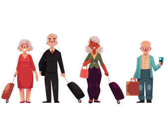 Set of old male and female travelers with luggage, suitcases, cartoon illustration isolated on white background. Senior, elder, pensioner tourists with luggage, bags, suitcases arriving or departing