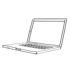 Freehand drawing illustration labtop.