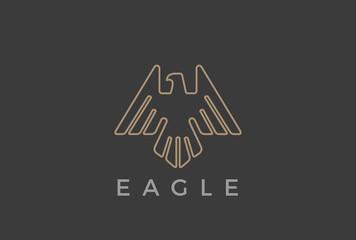 Eagle Bird flying Logo design vector Linear luxury Falcon Hawk