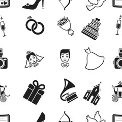 Weeding pattern icons in black style. Big collection of wedding vector symbol stock illustration