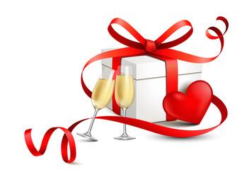Geschenk mit rotem Schleifenband, Herz und Sekt