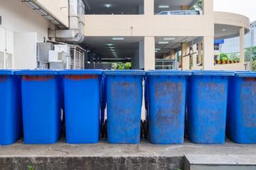 Garbage bin blue old sorted