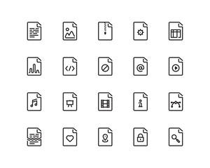 Documents outline style icon set