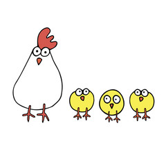 chicken vector hen cartoon illustration cute rooster