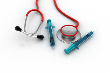Stethoscope with syringe