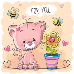 Greeting card cute cartoon Kitten with flower