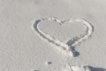 Heart in the snow.