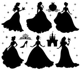 Lamas personalizadas infantiles con tu foto Set of silhouettes of princess.