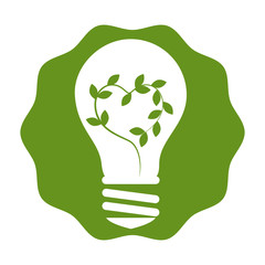 bulb with leafs plant ecology icon vector illustration design