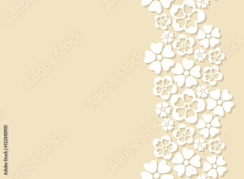Seamless Side Border Made Of White Paper Cut Flowers Stock Image