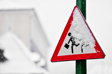 School zone road sign in winter