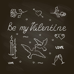Banner with Symbol set for Valentines Day. Chalkboard effect. Vector illustration eps 10.