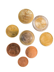 Different euro coinsand cents isolated in white