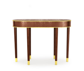 Classic furnishings. Modern sideboard with gold, isolated on whi